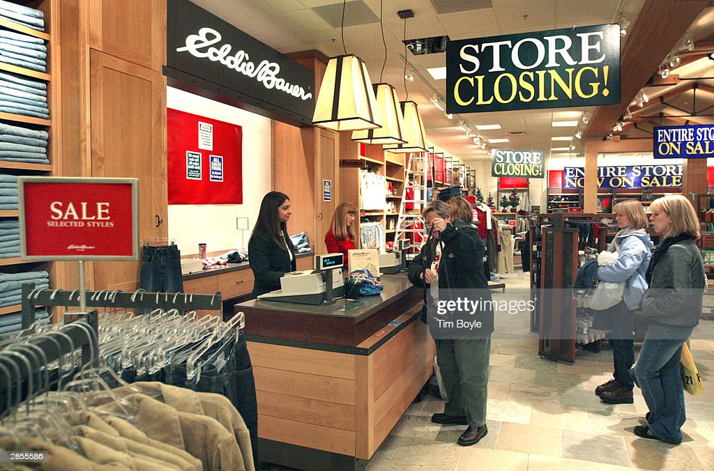 Shoppers Pay For Their Purchases At A Closing Eddie Bauer Store January 9 2004 In. image number 51 of kershaw doors liquidation ... & Kershaw Doors Liquidation \u0026 Kmart Logo\