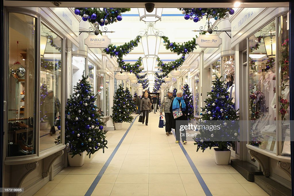 Shoppers peruse Princes Arcade linking Jermyn Street with Piccadilly on November 28 2012 in London England Many prominent retailers in the capital...