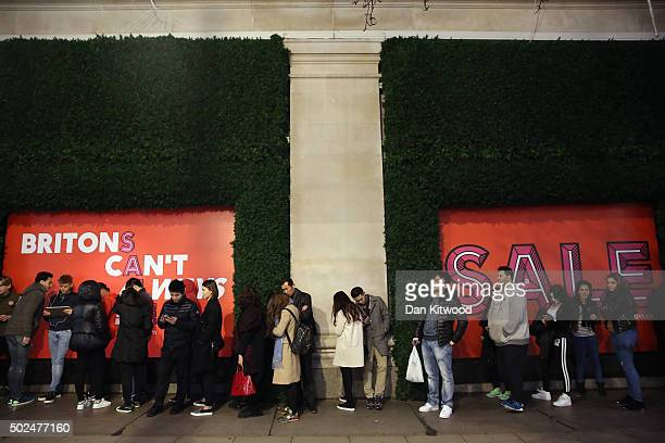 Shoppers queue outside Selfridges ahead of the Boxing Day sales on December 26 2015 in London EnglandBoxing Day is one of the busiest days for retail...