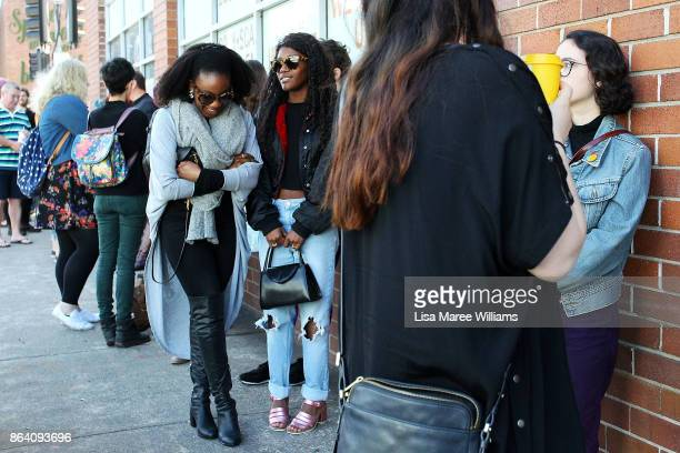 Shoppers queue to attend a costume and clothing sale at The Opera Centre on October 21 2017 in Sydney Australia Opera Australia is making way for new...