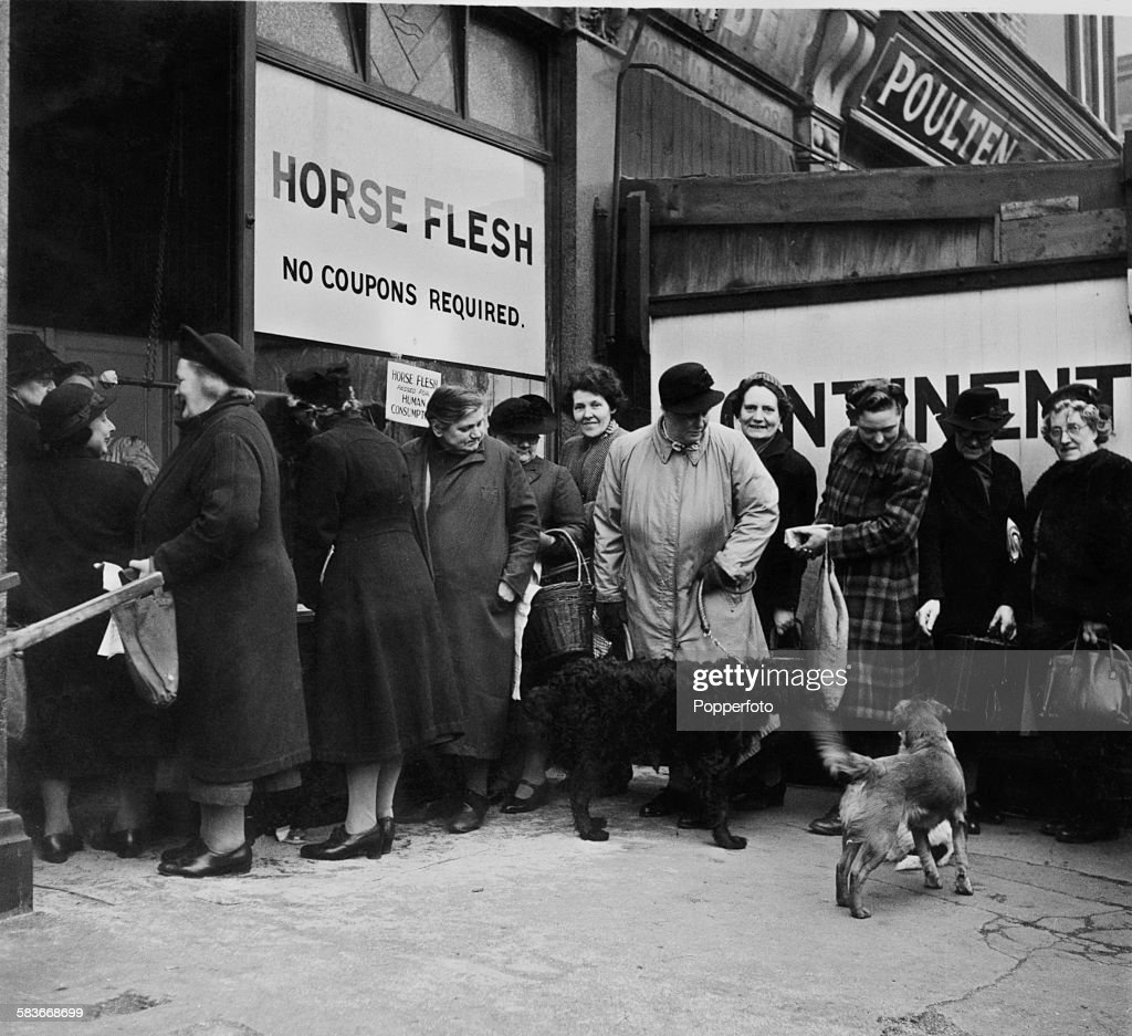 Shoppers queuing outside a butcher's shop selling horsemeat in Manor Park northeast London 1947 The meat is exempt from postwar rationing