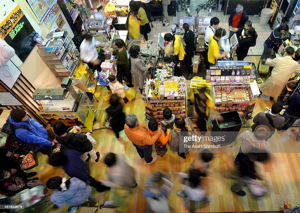 Shoppers rush to buy before the eight percent consumption tax is applied at discount store Don Quijote Nakameguro on March 31, 2014 in Tokyo, Japan. Japan raises consumption tax from 5 to 8 percent on April 1, and possibly to 10 percent in October 2015, despite market concerns about a slowing of the economic recovery.
