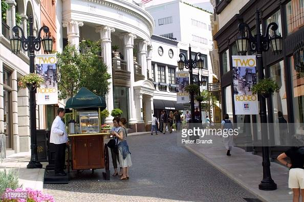 Shoppers stop for coffee while they spend the afternoon shopping on Rodeo Drive September 6 2001 in Beverly Hills CA