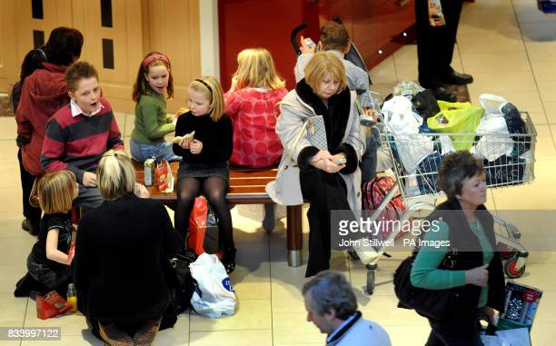 Shoppers take a rest in Lakeside shopping centre in Essex where crowds were out in force with less than two weeks before the Christmas holiday PRESS...