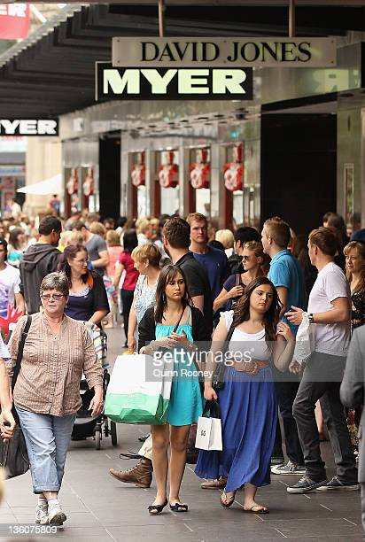 Shoppers visit department stores looking for last minute Christmas gifts on December 19 2011 in Melbourne Australia Retailers are preparing for a...
