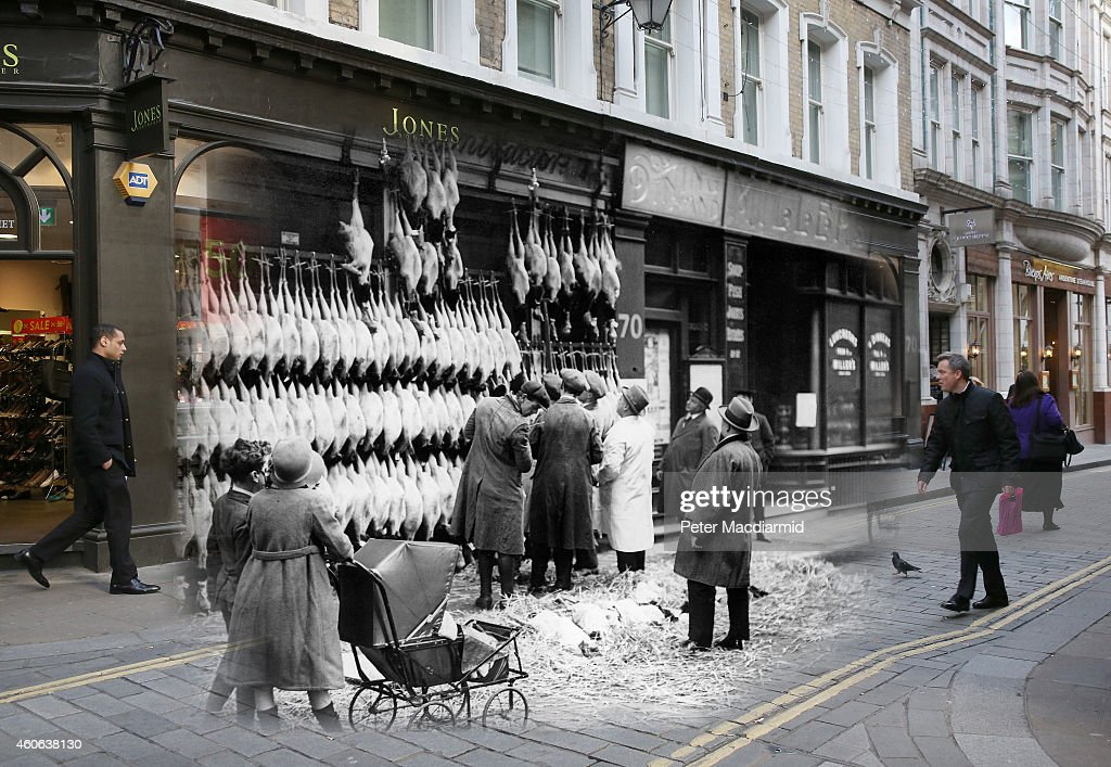 In this digital composite image a comparison has been made of London at Watling Street in 1923 (Archive, Topical Press Agency) and Modern Day 2014 (Peter Macdiarmid) at Christmas time. LONDON, ENGLAND - DECEMBER 11: Shoppers walk along Watling Street on December 11, 2014 in London, England. Christmas is an annual religious feast day originally set on December 25 to celebrate the birth of Jesus Christ and is a cultural festival and public holiday celebrated by billions of people around the world.