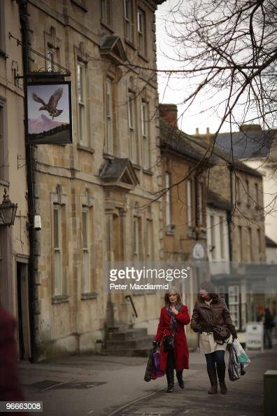 Shoppers walk in the constituency of Conservative party leader David Cameron on February 13 2010 in Witney England As the UK gears up for one of the...