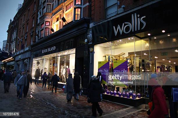 Shoppers walk on Grafton Street on December 1 2010 in Dublin Ireland The Irish economy has faltered after years of growth and recently European Union...