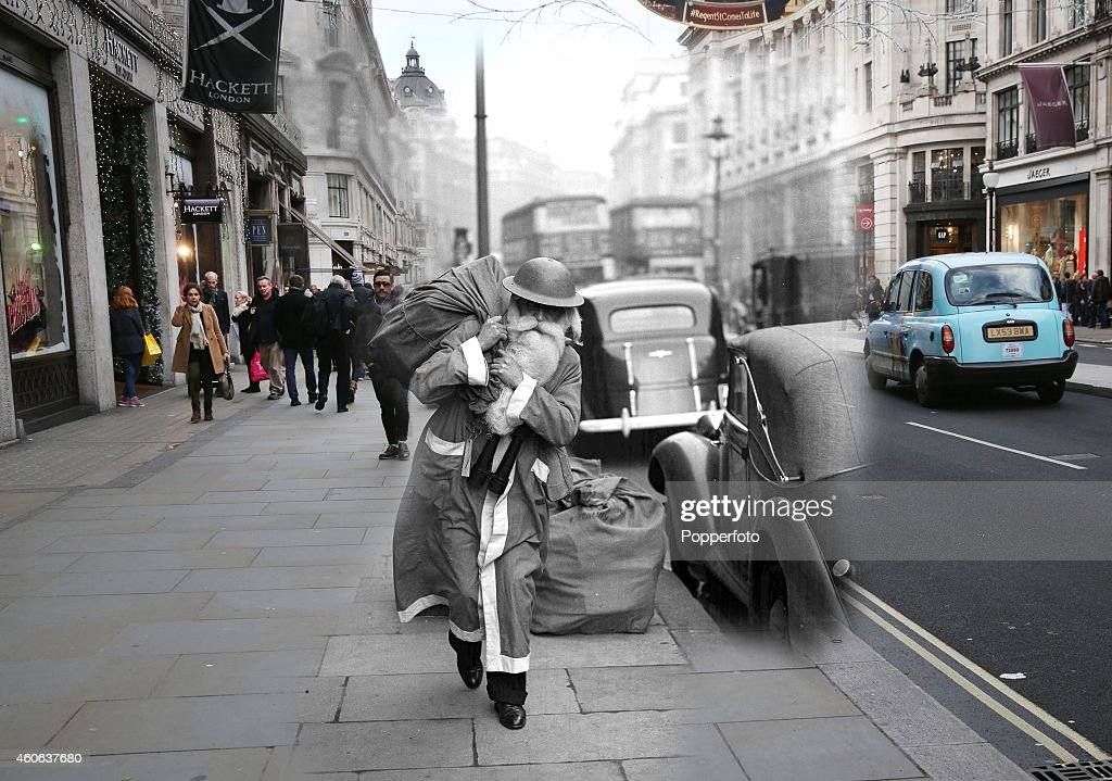 In this digital composite image a comparison has been made of London at Regent Street in 1940 (Archive, Popperfoto) and Modern Day 2014 (Peter Macdiarmid) at Christmas time. LONDON, ENGLAND - DECEMBER 15: Shoppers walk on Regent Street on December 15, 2014 in London, England. Christmas is an annual religious feast day originally set on December 25 to celebrate the birth of Jesus Christ and is a cultural festival and public holiday celebrated by billions of people around the world.