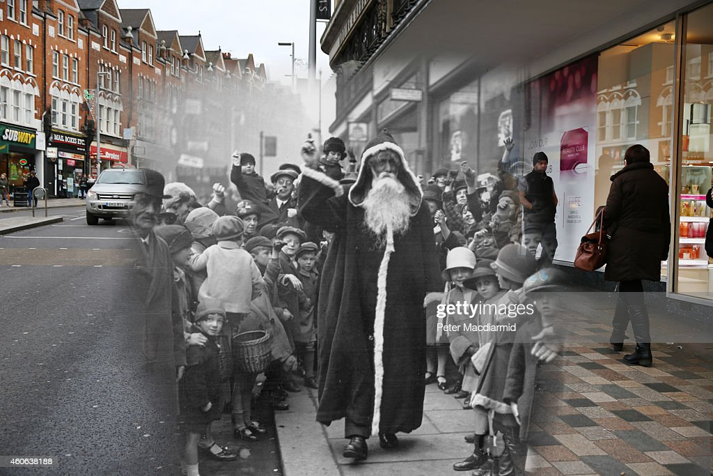 In this digital composite image a comparison has been made of London at Clapham Junction in 1926 (Archive, Topical Press Agency) and Modern Day 2014 (Peter Macdiarmid) at Christmas time. LONDON, ENGLAND - DECEMBER 15: Shoppers walk past Debenhams in Clapham Junction on December 15, 2014 in London, England. Christmas is an annual religious feast day originally set on December 25 to celebrate the birth of Jesus Christ and is a cultural festival and public holiday celebrated by billions of people around the world.