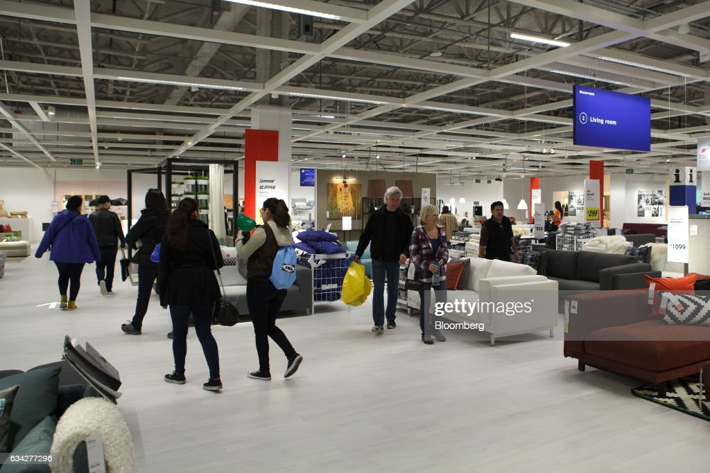 Shoppers Walk Through The Living Room Section Of New IKEA Sweden AB Store During