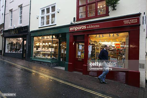 Shoppers walk through the rural town of Ludlow in Shropshire on December 8 2011 in Ludlow England With a weak outlook at the start of the Christmas...