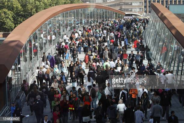 Shoppers walk to the newly opened Westfield Stratford City shopping centre on September 13 2011 in London England The new Westfield mall is the...