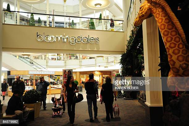 Shoppers walk towards Bloomingdales on February 1 2009 at the Mall of America in Bloomington Minnesota The 42millionsquarefoot or 390000squaremeter...