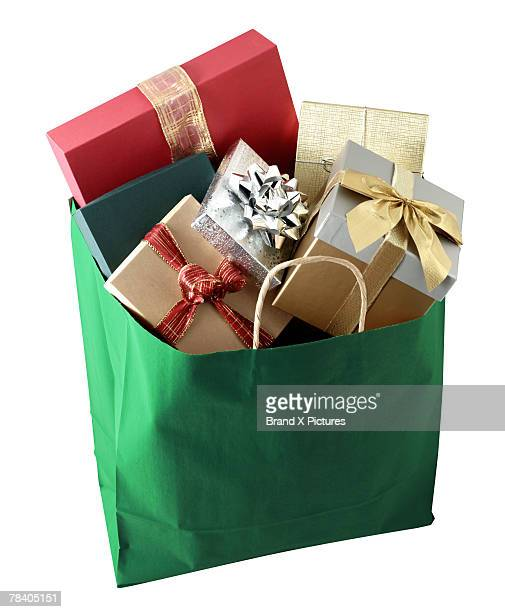 Shopping bag full of gifts
