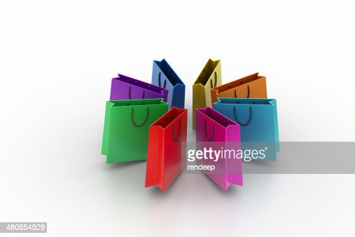 Shopping bags in multiple color : Stock Photo