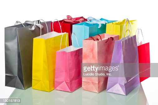 Shopping bags isolated against white background