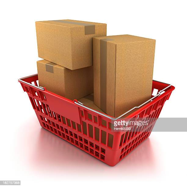 Shopping basket full of boxes - isolated with clipping path
