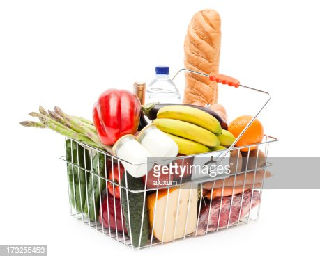 Shopping basket full of fruits, vegetables and heathy food