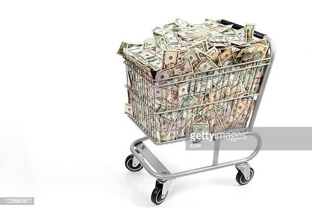 Einkaufskorb voller Geld