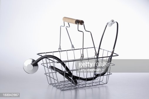 A shopping basket with a stethoscope in it