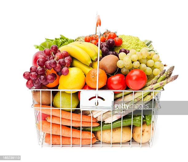 Shopping basket with fruits and vegetables