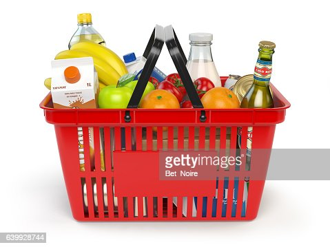 Shopping basket with variety of grocery products isolated on whi : Stock Photo
