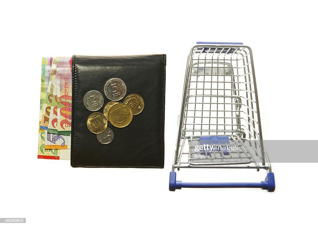 Shopping cart and wallet and Israeli shekels : Stock Photo