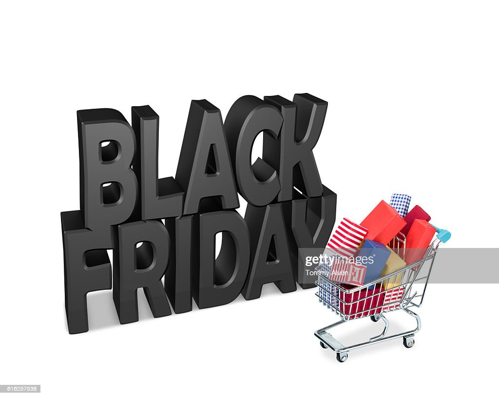 Shopping Cart filled with gifts with black Friday theme. : Stock Photo