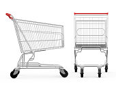 Empty shopping carts, side view and front view, isolated on white background.