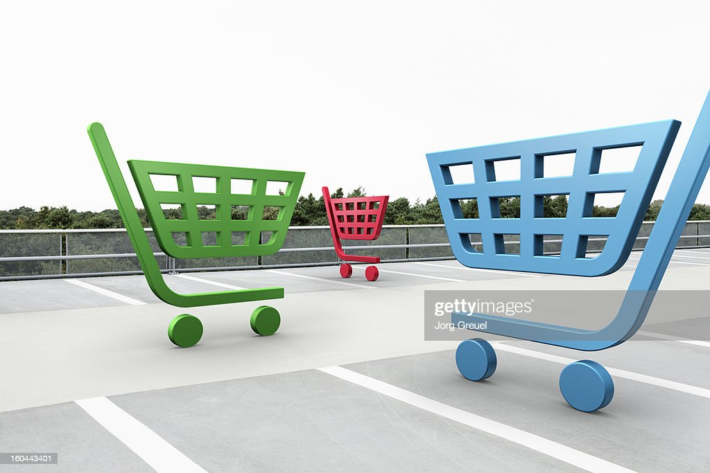 Shopping cart icons in car park