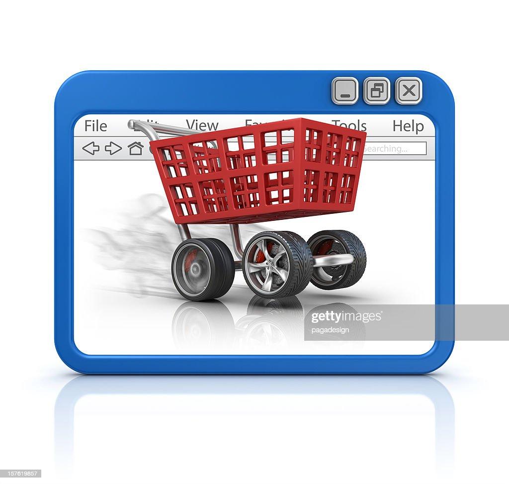 Einkaufswagen im browser : Stock-Foto