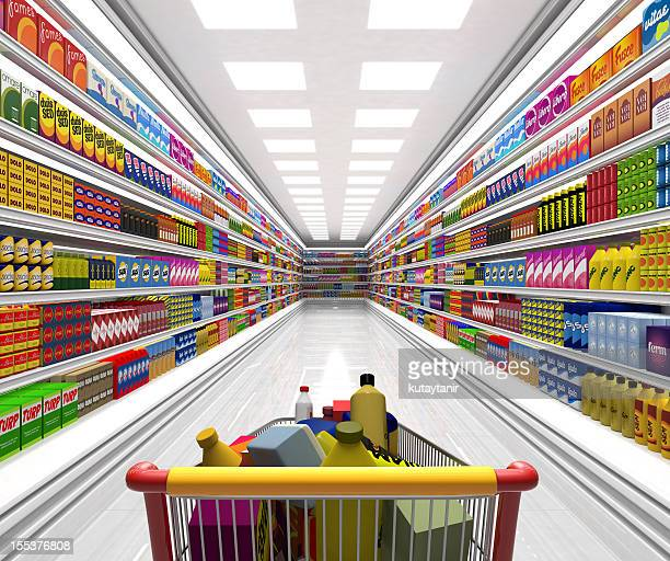 Shopping cart in the supermarket.