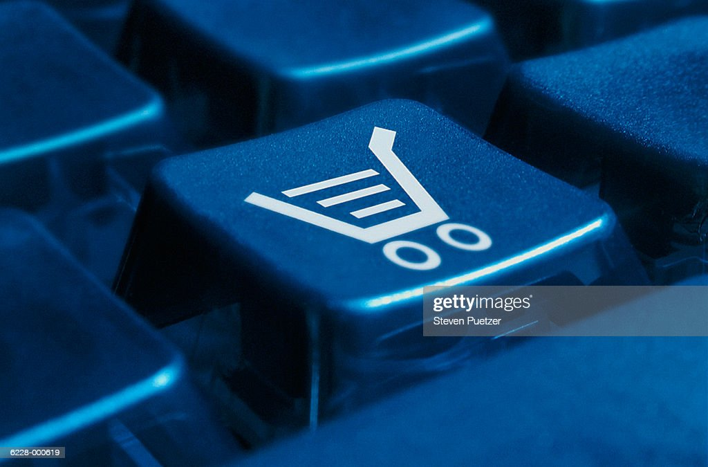 Shopping Cart on Keyboard : Stock Photo