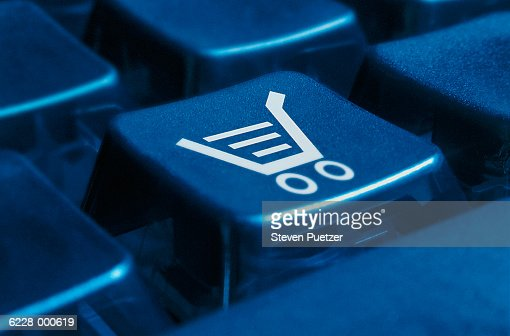 Shopping Cart on Keyboard : Foto de stock