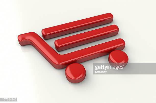 Shopping Einkaufswagen-Symbol-Rot