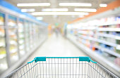 Shopping Cart View in Supermarket Aisle Milk Yogurt Frozen Food Freezer and Shelves with customer defocus background