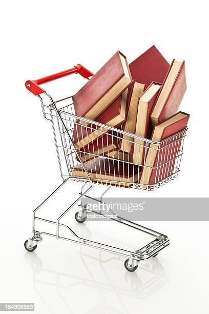 Cesta de compras con libros