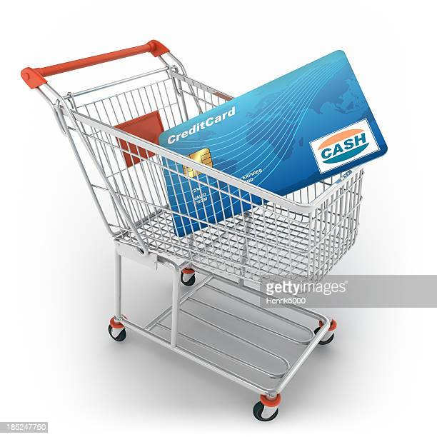 Shopping cart with credit card, isolated / clipping path