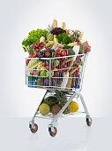 shopping cart full of luxury food