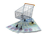 Shopping Cart with One Hundred Dollar Bills