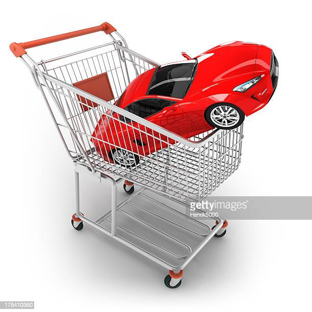 Shopping cart with sports car - isolated / clipping path