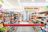 Shopping cart with Supermarket convenience store aisle shelves interior blur for background