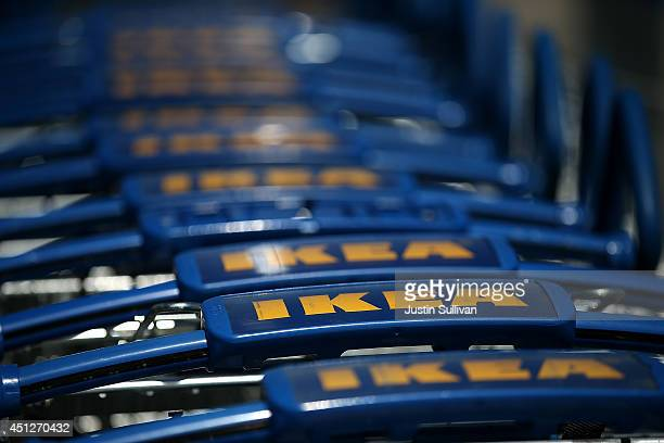 Shopping carts are lined up outside of an IKEA store on June 26 2014 in Emeryville California Swedish furniture retailer IKEA announced that it plans...