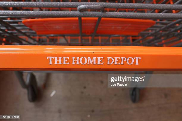 Shopping carts are seen at The Home Depot store on May 17 2016 in Miami Florida Home Depot raised its yearly outlook after first quarter sales...