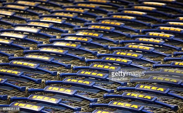 IKEA shopping carts are seen at the newly opened IKEA store near Zagreb on August 21 2014 Swedish furniture giant IKEA opened its first store in the...