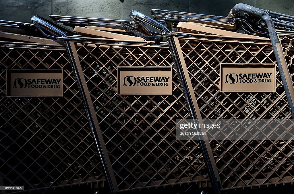 Shopping carts are seen in front of a Safeway store on February 21, 2013 in San Anselmo, California. Safeway, the second largest grocery chain in the U.S., reported a 13 percent increase in fourth- quarter profit with earnings of $244 million, or $1.02 a share compared to $215.6 million, or 67 cents, one year ago.