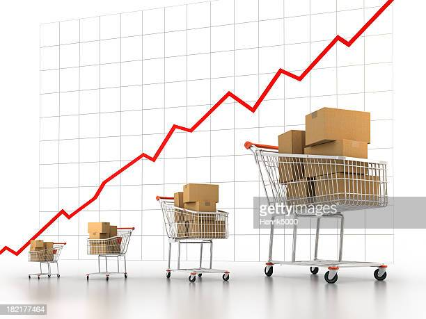Shopping carts increasing in size (Clipping path included)
