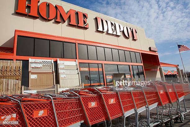 Shopping carts sit outside a Home Depot store February 24 2009 in Chicago Illinois Home Depot today reported betterthanexpected fiscal fourthquarter...