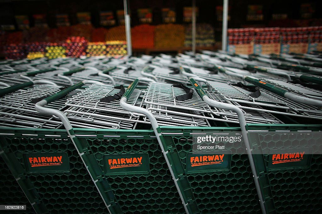 Shopping carts stand by the newly re-opened Fairway Market on the waterfront in Red Hook on March 1, 2013 in the Brooklyn borough of New York City. Fairway, which quickly became a popular shopping destination and an anchor in the struggling community of Red Hook, was closed following severe flooding during Hurricane Sandy on October 29, 2012. Like the rest of Red Hook, Fairway has struggled to quickly re-open in a neighborhood that lost dozens of businesses during the storm. The re-opening, which included a ceremony and ribbon cutting featuring Miss America and Mayor Michael Bloomberg, is being viewed as Red Hooks official comeback since the storm.